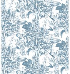 seamless pattern with hand drawn garden flowers vector image