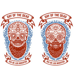 Set of bearded mexican sugar skulls with pattern vector