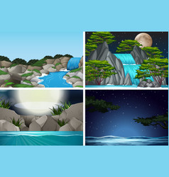Set of waterfall in nature background vector