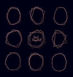 set rose gold geometric luxury frames on dark vector image