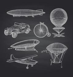 set steampunk hand drawn dirigibles vector image