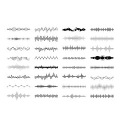 set waving vibration and pulsing lines vector image