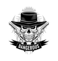 skull cylindr revolvers 0004 vector image