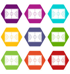 soccer field icon set color hexahedron vector image vector image
