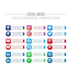 Social media logo and username box compositions vector