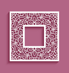 square frame with cutout lace border vector image