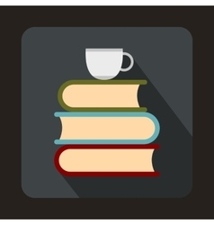 Stack of books and white cup icon vector image