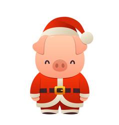 sweet piglet in santa costume pig cartoon vector image