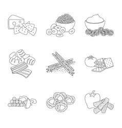 Taste and crunchy icon set vector