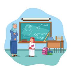 Teacher and boy vector