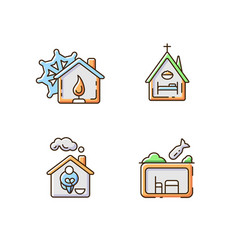 Temporary supportive housing rgb color icons set vector