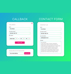 ui elements web subscribe form contact form vector image