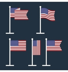 USA Flags on Flagstaffs Flat Icon vector image
