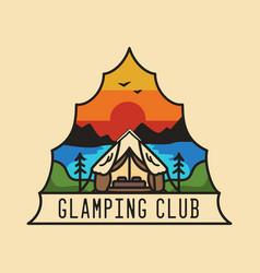 Vintage glamping club logo glamp adventure emblem vector