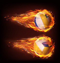 volleyball balls flying in fire falling in flame vector image