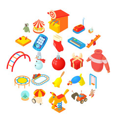 wean icons set cartoon style vector image