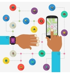Wearable technology concept Map and traveling app vector image