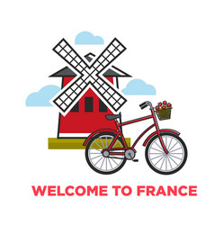 welcome to france french symbols moulin rouge and vector image