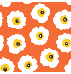 white flowers on orange seamless retro vector image