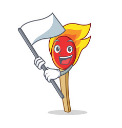With flag match stick mascot cartoon vector