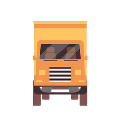 yellow cargo truck from front view isolated on vector image