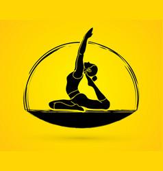 yoga pose woman training yoga vector image