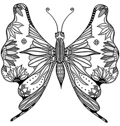 Zentangle stylized butterfly vector