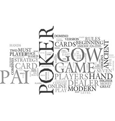 Beginners strategy for pai gow poker text word vector