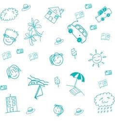 Blue beach doodle art vector image