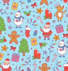 Christmas pattern on blue background vector image vector image