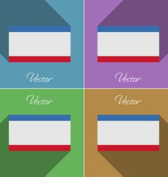 Flags Crimea Set of colors flat design and long vector image vector image