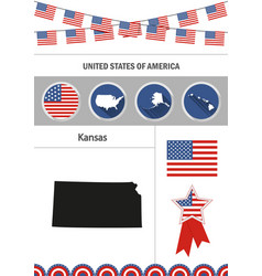 map of kansas set of flat design icons vector image