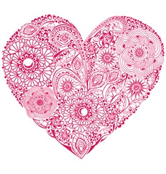 Red floral heart vector image vector image