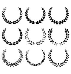 Black laurel wreaths 1 vector image vector image