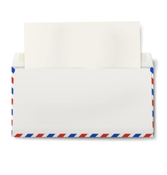 DL air mail envelope with white paper inside vector image