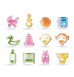simple child and baby online shop icons vector image vector image