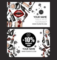 business and discount card for makeup artist vector image vector image