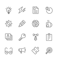 business office stationery line icons vector image
