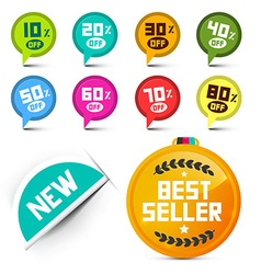 Circle Discount Labels Set with Best Seller Medal vector image vector image