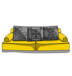 large yellow low sofa with gray pillows in vector image vector image
