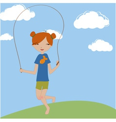 little girl jumping with the skipping rope vector image vector image
