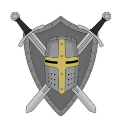 Two crossed swords shield and helmet heraldry vector image