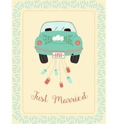 wedding car with border vector image