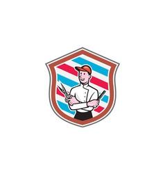 Barber Holding Scissors Comb Shield Cartoon vector image vector image