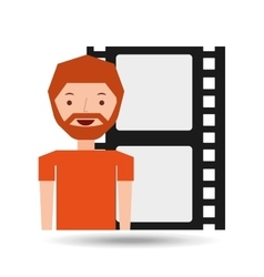 cartoon man icon film strip cinema graphic vector image