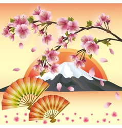 Japanese background with sakura blossom Japanese vector image vector image