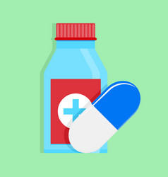 medical medicine bottle and capsule vector image vector image