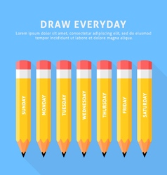 seven pencils for everyday vector image vector image