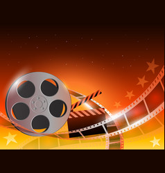 A film stripe reel on shiny red vector