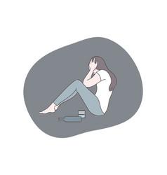 alcoholism depression frustration mental stress vector image